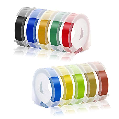 Embossing Tape Compatible with Dymo Embossing Label Maker, 3/8'' x 9.8' Colorful 3D Plastic Organizer Xpress Tape Compatible with Dymo Embossing Office Mate II and Old School Label Makers