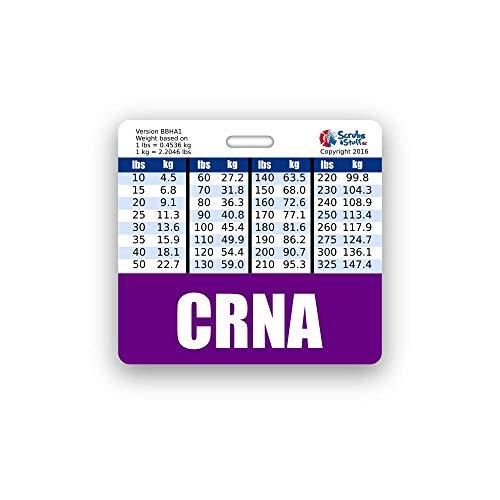 CRNA Badge Buddy Horizontal w/Height & Weight Conversion Charts (Standard, Purple)