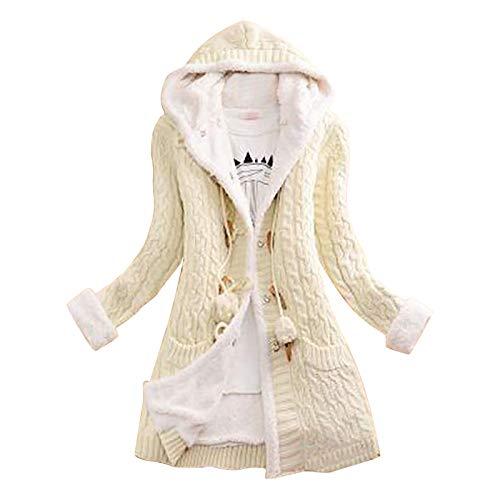 Lazzboy Store Strickjacke Damen Winterjacke Frauen Strickknopf Langarm Kaschmir Dicker Warm Hooded Cardigan Coat Pullover Mantel Wintermantel S-5XL (Weiß,L)
