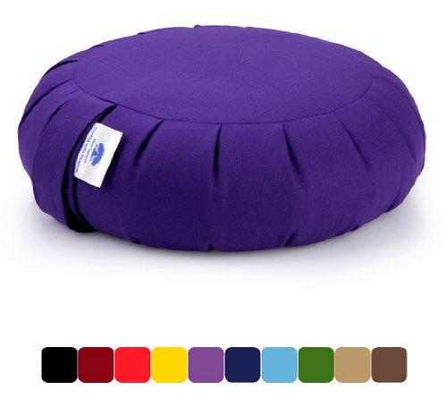 Blue Banyan Zafu Meditation Cushion (Organic Buckwheat) UK Made. Purple