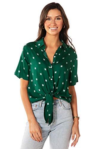 Women's Simple Clover Tie Front Shirt: S