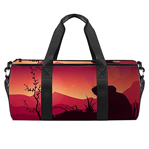 Gerbil Silhouette Sunset Sports - Borsone cilindrico da viaggio con tasca bagnata, leggero, con tracolla per uomo e donna