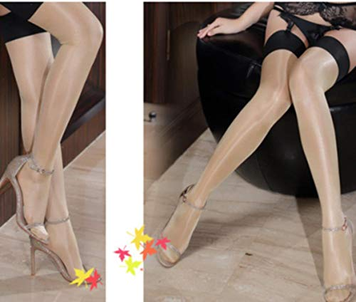 TYJ Women's Multicolor Shine Shiny Thigh high Stockings Ladies Glitter Lustre Legs Top Opaque Knee Socks,Skin Color