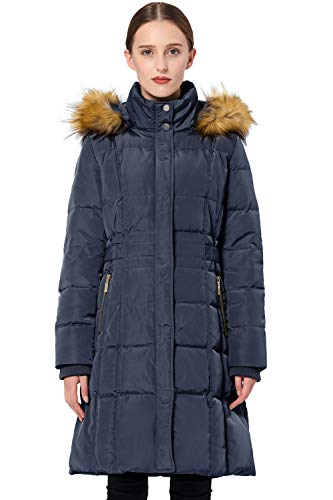 Orolay Women's Puffer Down Coat Winter Jacket with Faux Fur Trim Hood YRF8020Q Navy 2XL