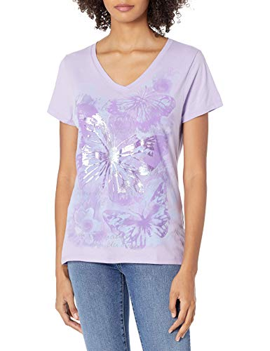 Hanes Women's Short Sleeve Graphic V-neck Tee (multiple graphics available), Big Butterfly...