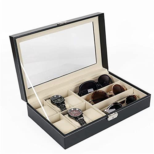 estuche relojes Reloj de almacenamiento Caja de almacenamiento PU Caja de reloj de 6 dígitos Vidrios de 3 dígitos Mostrar almacenamiento de almacenamiento Caja de embalaje PU Caja de reloj de cuero (C