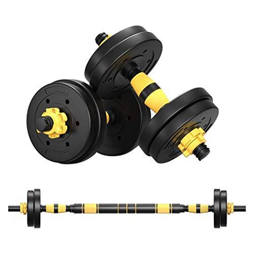Huiit 2In1 Hanteln Set Kurzhanteln Langhanteln Verstellbar Hantelset Professionell Dumbbell Mit Verbindungsstahlrohr Gewichten,Black Yellow,10kg