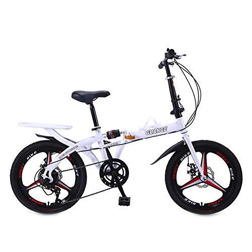 Dybory Faltbares Fahrrad, 20 Zoll Leichtes Klapprad, Klappbare City-Pendlerfahrräder Mit Doppelscheibenbremse Für Studenten Im Büro,Weiß