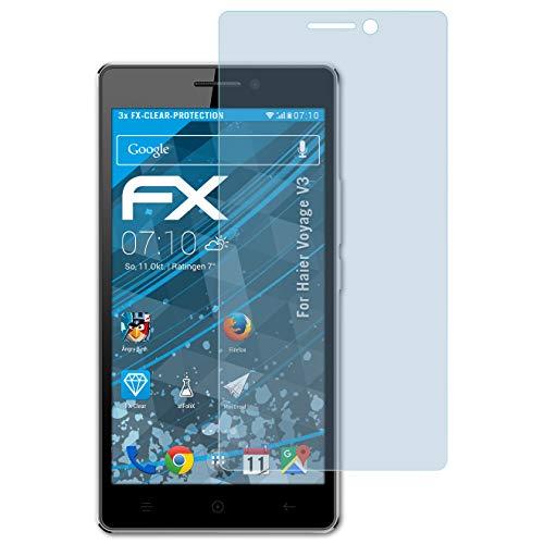 atFolix Schutzfolie kompatibel mit Haier Voyage V3 Folie, ultraklare FX Bildschirmschutzfolie (3X)
