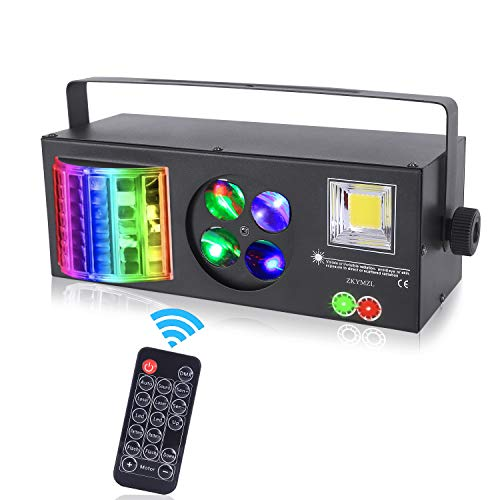 ZKYMZL Party Lights Stage Lights, RGBWYP 4 in 1 Mixed Lighting Effects LED Pattern Strobe Light by DMX and Remote Control Sound Activated for DJ Disco Lights Wedding Birthday Club