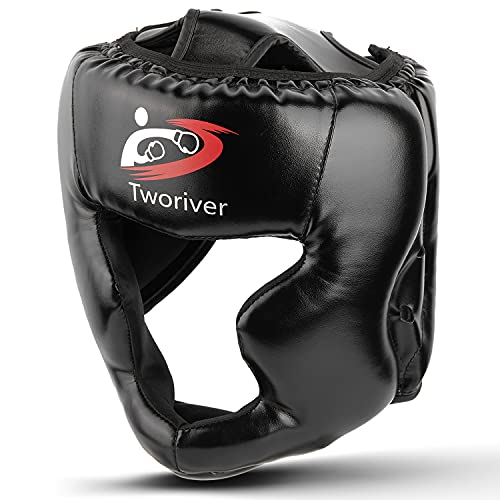 Boxing Headgear, Synthetic Leather MMA Headgear, UFC Fighting Head Guard Sparring Helmet by SANJOIN, Black
