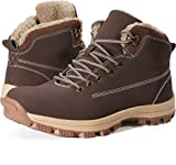 WHITIN Men's Winter Shoes Snow Boots Outdoor for Cold Weather Warm Work Insulated Fully Fur Lined Nubuck Leather Hiking Waterproof Lace Up Anti-Slip Wide Brown Size 10