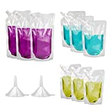 Plastic Drinks Flasks,20 Pack Reusable Liquor Pouch Concealable Drink Pouch Plastic Drinking Flasks with Spout and Small Drink Flask Funnel,250ml,420ml,500ml for Sneak Booze,Liquor,Rum,Water,