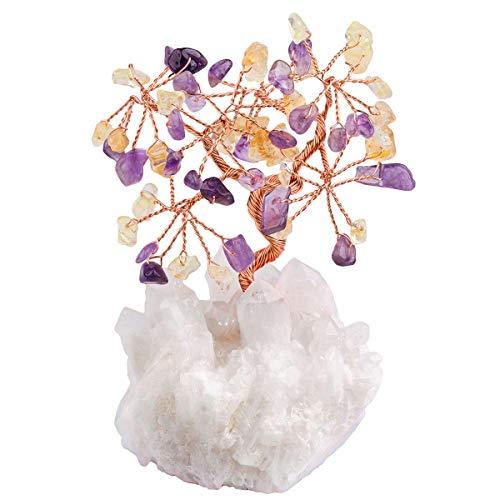 mookaitedecor Árbol de Dinero, Gemas Feng Shui Adornos de árbol de Cristal curativo, Piedras de Cuarzo Roca Rough Stone Cluster Base Bonsai, Piedra, Purple & Yellow
