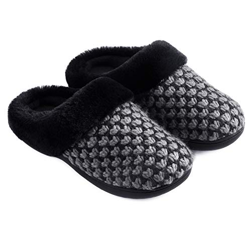 Zigzagger Women's Polar Fleece Memory Foam Slippers Plush Lining Slip-on Faux Fur Collar Indoor-Outdoor House Shoes,Grey,9-10 M US