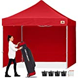 ABCCANOPY Canopy Pop Up Commercial Canopy Tent with Side Walls Instant Shade, Bonus Upgrade Roller Bag, 4 Weight Bags, Stakes and Ropes, Red