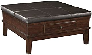 BOWERY HILL Square Coffee Table Ottoman in Medium Brown