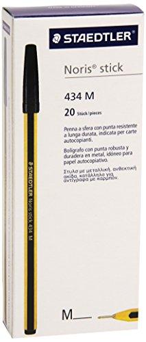 Staedtler 434 09 Noris Stick Penna a Sfera, 1 mm, Confezione da 20, Nero