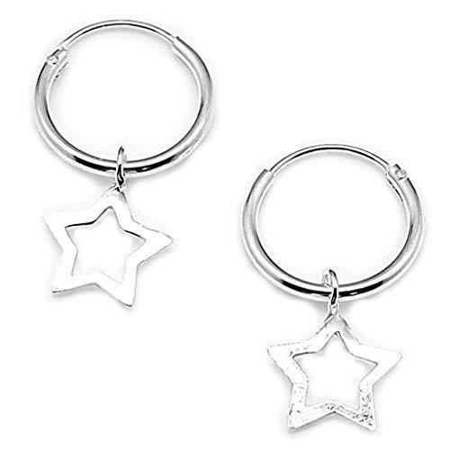 AKIEE Aros De Plata de Ley 925 Con Cruz Luna Estrella Pendientes para Mujer Hombre (Estrella)