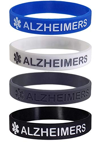 Max Petals 4 Pack - Alzheimers Medical Alert ID Silicone Bracelet Wristbands
