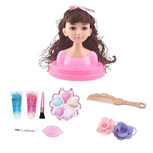 perfeclan Schminkkopf Frisierkopf für Mädchen Frisierpuppe Styling-Kopf Kinder Make-up Schönheit Spielzeug - B