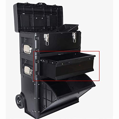 LZL Trolley Tool Boxes for Multifunctional Three-Layer Combined Pull Rod Tool Box High Capacity Tool Chests Vehicle Multifunction Toolbox (Color : Black)