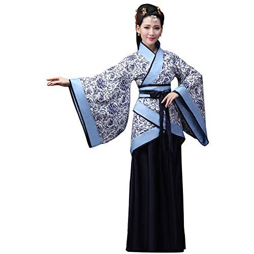 Xingsiyue Chino Antiguo Tradicional Hanfu Disfraz Etapa de Rendimiento Traje de Tang Vestido de Baile para Mujer (Azul Negro,36)