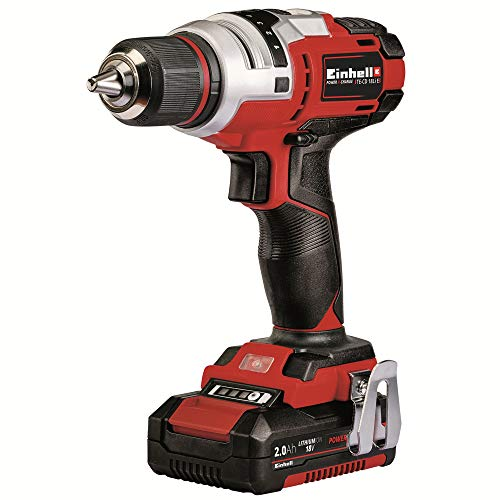 Einhell TE-CD Power X-Change 18-Volt Cordless 1400 RPM Brushed Motor, Variable Speed Drill/Driver, w/Adjustable 1/2-Inch Keyless Chuck, 407 In-LB Torque Selector, w/Hard Case