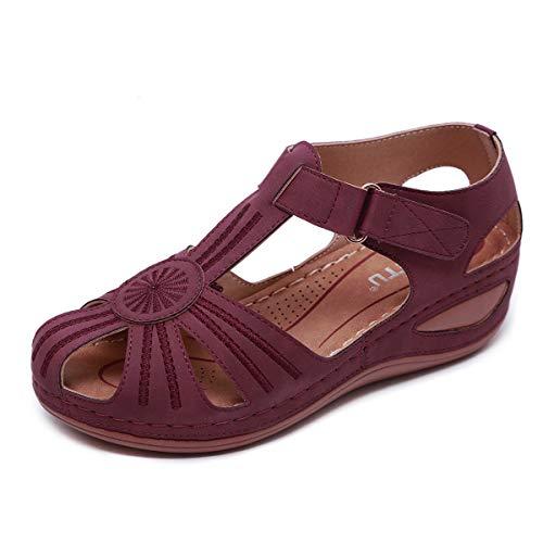 ZAPZEAL Gladiator Sandalen Damen Rutschfeste Slipper Plattform Flache Keil Sandalen Sommerschuhe Boho Thongs Sandalen Boden Frauen,Rot 38 EU