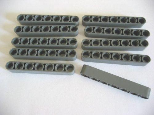 LEGO TECHNIC - 10 LOCHSTEINE STEINE mit 1x7 Noppen im neuen dunkelgrau - 32524 - TECHNIK LIFTARME LOCHSTANGEN