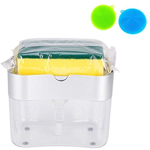 2 in 1 Dish Washing Liquid Dispenser Set: + [ 2 Silicone Sponge Scrubber...