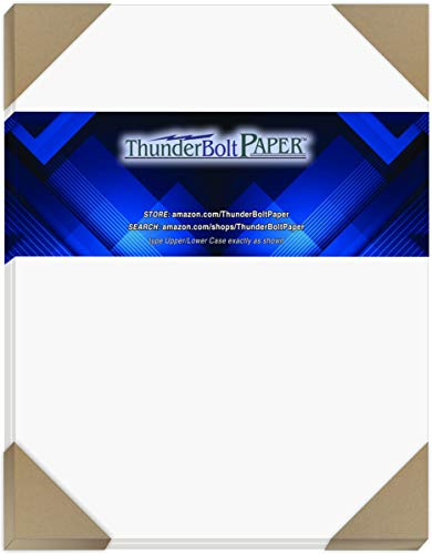 "50 Bright White Smooth Card Paper Sheets - 8"" X 10"" (8X10 Inches) Photo