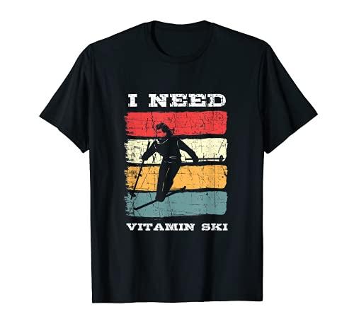 I Need Vitamin Ski Instructor Telemark Noruega Camiseta