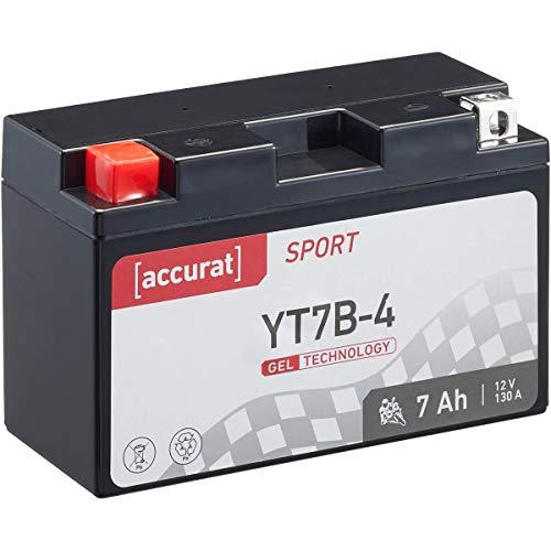 Accurat Motorradbatterie Sport YT7B-4 7 Ah 130 A 12V Gel Technologie Starterbatterie in Erstausrüsterqualität zyklenfest sicher lagerfähig wartungsfrei