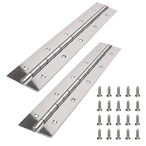 Muzata Heavy Duty 304 Stainless Steel Continuous Piano Hinge 2'x12'x0.06' Thick with Screws,Bright Annealed Finish 2PACK, M016