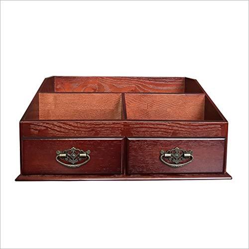 Storage Box BoîTe De Rangement en Bois pour CosméTiques, 3 Compartiments, 2 Tiroirs (Couleur Antique, Vin Rouge)