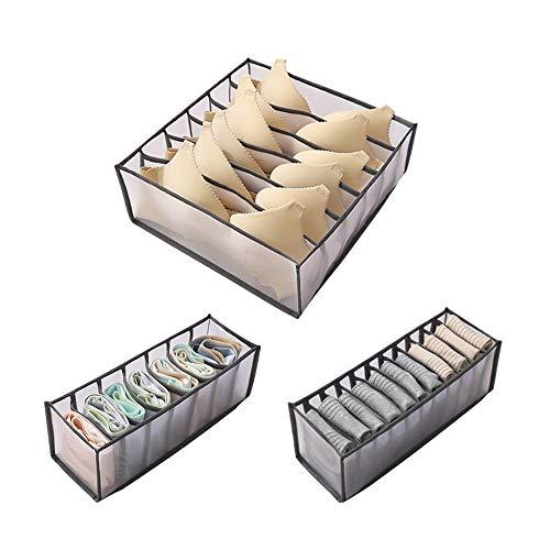 IWILCS 3Pcs Faltbox Schublade Organizer, Aufbewahrungsbox, Grau Schrank Organizerboxen, Socken und Krawatten Dessous und Kleine Zubehörteile für Schublade Kleiderschrank