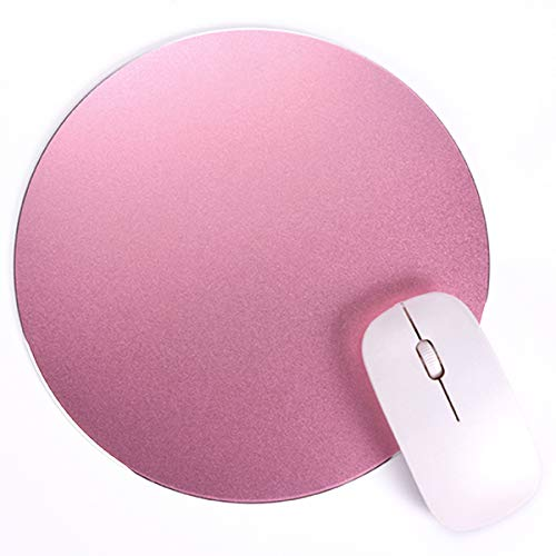 Round Mouse Pad LoiStu Round Aluminum Alloy Mouse Pad Winter and Summer Dual-Use Waterproof Antiski Matte Metal / High-Grade PU Leather Mouse Pad (Rose Gold)