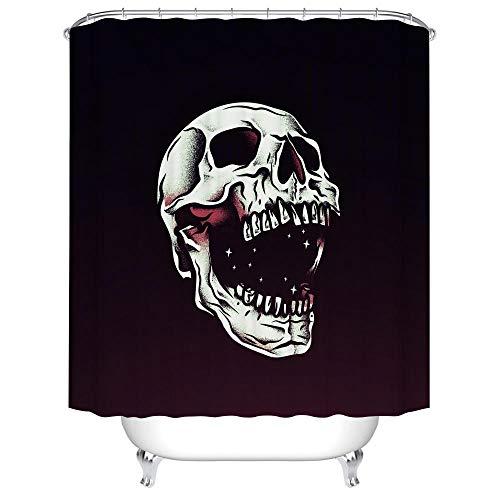 HNFY Duschvorhang Qualität Wasserdicht, Anti-Schimmel-Effekt 3D Digitaldruck, Schwarz-weißer Schädel mit 12 Duschvorhangringe für Badezimmer 240x200cm