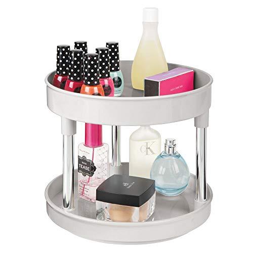 mDesign Organizador de maquillaje rotatorio – Elegante plataforma giratoria para cosméticos, cremas o medicamentos – Base giratoria redonda con 2 niveles para baño o cocina – gris claro/plateado