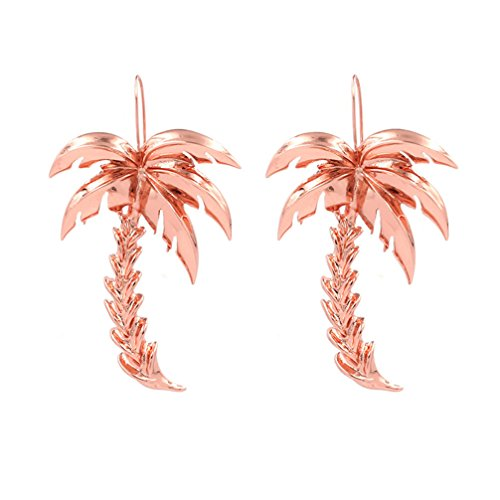 Toporchid Trendy Tide Geometric Earrings Palm Tree Metal Coco Joker Earrings Exaggerated Ear Ornament (Rose gold)