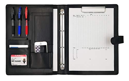 MT's SHOP クリップボード A4 二つ折り PU レザー 多機能 フォルダー バインダー オーガナイザー OF300 (黒色)