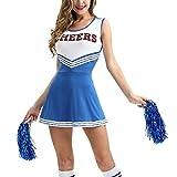 uirend Disfraces Cheerleading Ropa Mujer - Uniformes Cheerleader Disfraz de Animadora con Pompones Niña Actividades Musicales Fiesta Actuación Danza Gimnasia