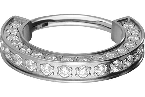 PIERCINGLINE Titan Segmentring Clicker   KRISTALLRAND   Ring Nase Septum Ohr Helix   Farb & Größenauswahl