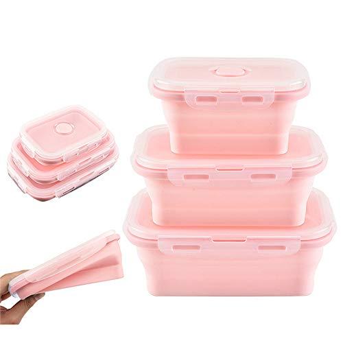Lot De 3 Silicone Pliable Nourriture Contenants De Rangement Lunch Bento Box Portable RéUtilisable Pliage Scellé BoîTe Micro-Ondes Lave-Vaisselle RéFrigéRateur CongéLateur Four Safe,Pink