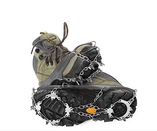 Ao tu Tacos Antideslizantes de tracción para Nieve, crampones para Zapatos con 19 Pinchos de Acero Inoxidable para Caminar, Correr, Escalada, Senderismo