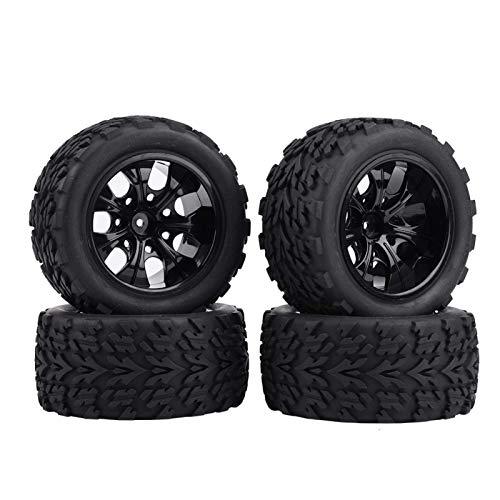 DAUERHAFT Neumáticos RC Antideslizantes Negros, Coche de camión RC a Escala Exceed/Traxxas 1/10(Black 7-Hole Outline)