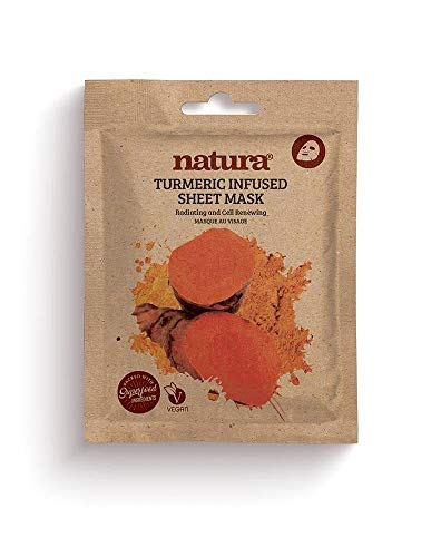 Natura TURMERIC Infused Sheet Mask By BeautyPro, Cell Renewing, Anti-Oxidising & Hydrating Face Mask 30g