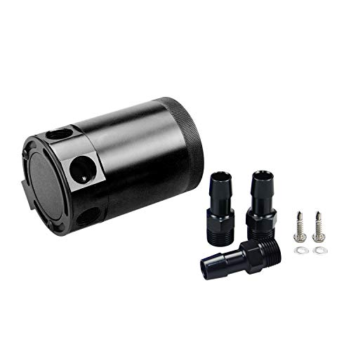 Tasan Racing Universal Aluminum Baffled 3 Port Oil Catch Can/Tank/Air-Oil Separator 2 Inlets 1 Outlet Black