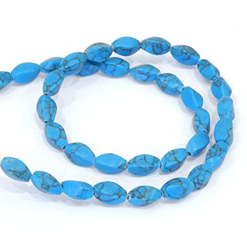 EIN Strang Türkis Steine Edelstein Perlen 11x6mm Natural Edelsteine Strang Ovalform 35stk Perle mit Loch zum auffädeln Schmuckstein